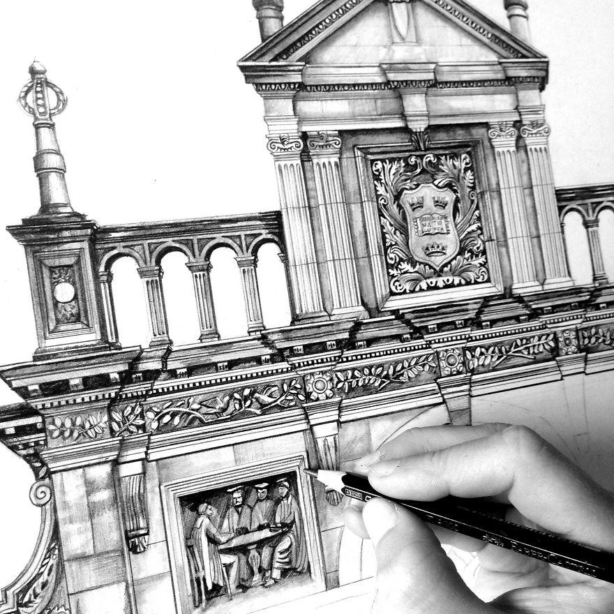 Architecture Drawing Pencil pencil drawing: photorealistic architectural drawing of famous