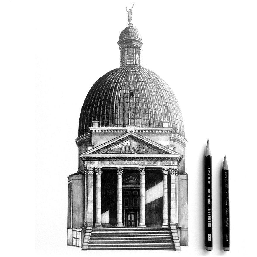 Fotosolution Pencil Drawing Photorealistic Architectural Of Famous European Building 03 1jpg