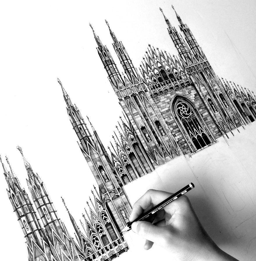 fotosolution-Pencil-Drawing-Photorealistic-Architectural-Drawing-of-Famous-European-Building-04