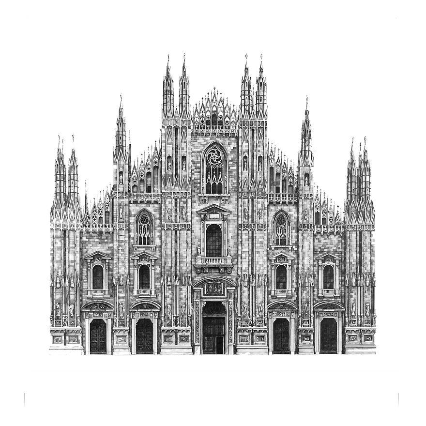 fotosolution-Pencil-Drawing-Photorealistic-Architectural-Drawing-of-Famous-European-Building-06
