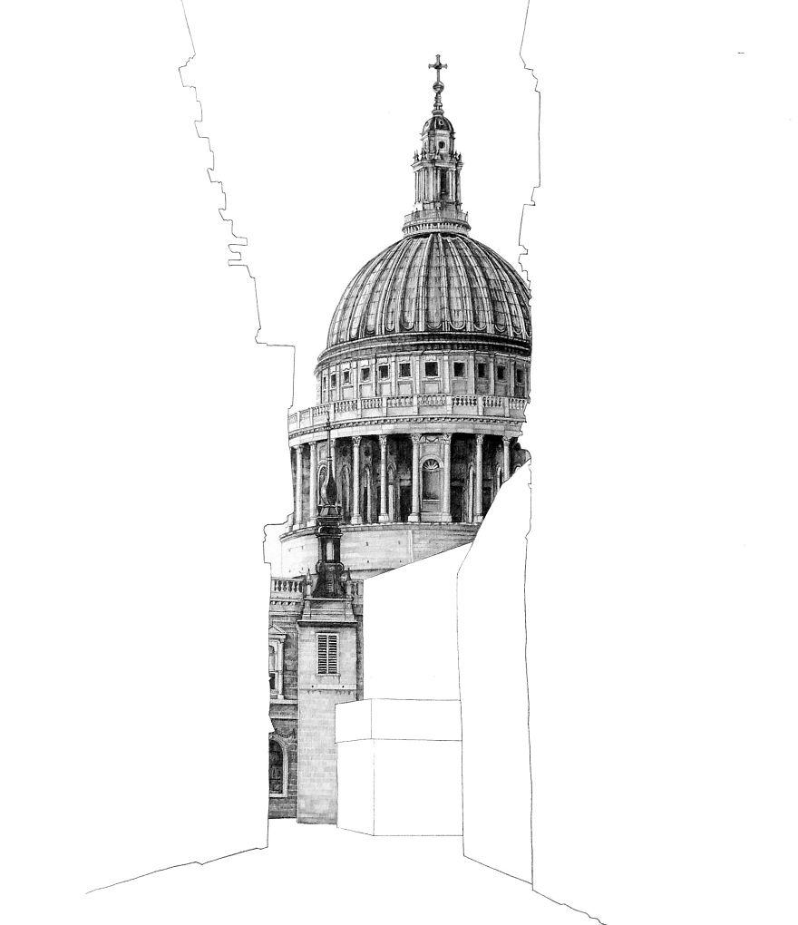 St pauls cathedral london fotosolution pencil drawing photorealistic architectural drawing of famous